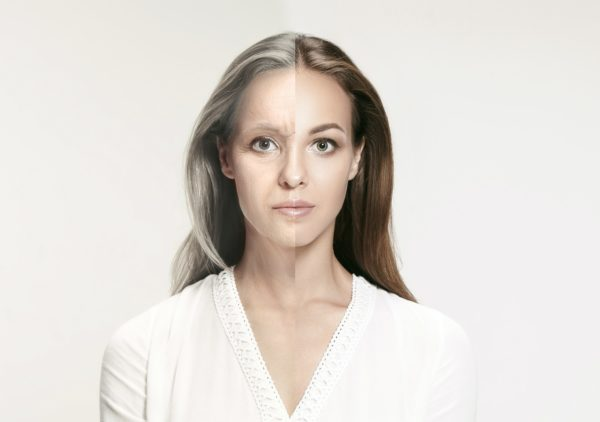 Comparison. Portrait of beautiful woman with problem and clean skin